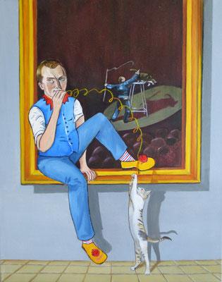 """""""Clown mit Katze"""", Öl auf Leinwand, 50 x 40, 2017"""