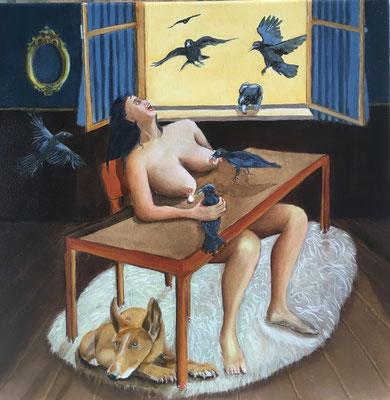 """""""Rabenmutter"""" - Öl auf Leinwand, 40 x 40, 2019"""