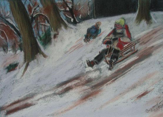 """""""Bremen - Winterfreuden"""" - Pastell, 30 x 40, 2010"""