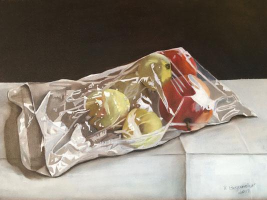 """Äpfel in Folie"", Öl auf Leinwand, 30 x 40, 2019"