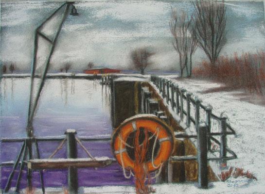 """""""Bremen - Winter im Hafen"""" - Pastell, 30 x 40, 2010"""