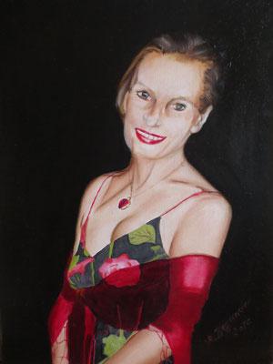 """""""Lisa"""", Öl auf Malplatte, Öl auf Malplatte, 40 x 30, 2016"""