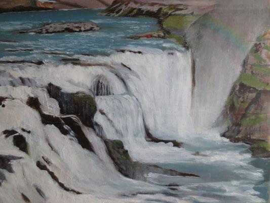 "Nordland: ""Island - Gullfoss"" - Öl auf Malpappe, 40 x 50, 2019"