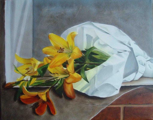 """""""Lilien in der Nische"""" - Öl auf Leinwand, 40 x 50, 2011"""