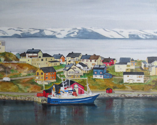 Nordland:Honningsvar, Norwegen, Öl auf Malpappe, 40 x 50, 2017