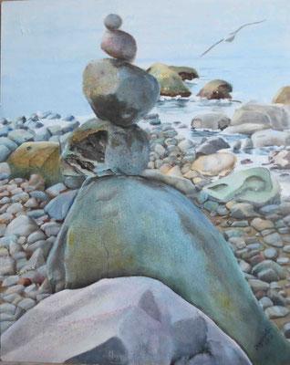 """""""Rügen - Steine II"""" - Öl auf Malplatte, 50 x 40, 2013"""
