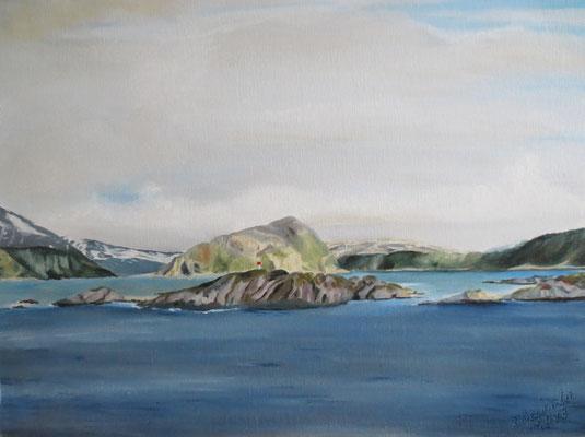 "Nordland: ""Lofoten"", Öl auf Malpappe, 40 x 50, 2018"