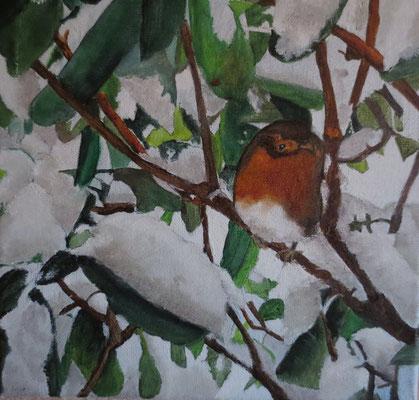 """""""Rotkehlchen im Schnee"""", Öl auf Leinwand, 20 x 20, 2017"""