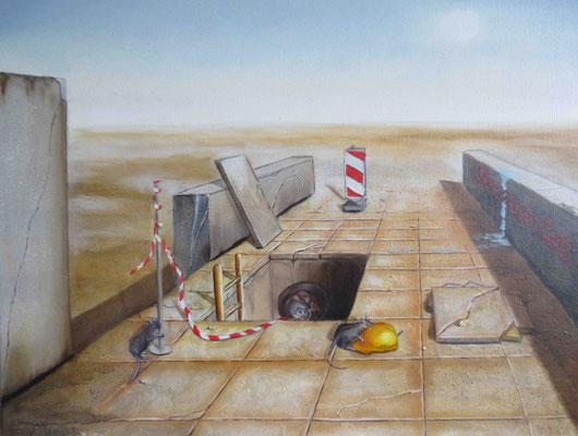 """""""Kanalratten"""" - Öl auf Leinwand, 40 x 50, 2000"""