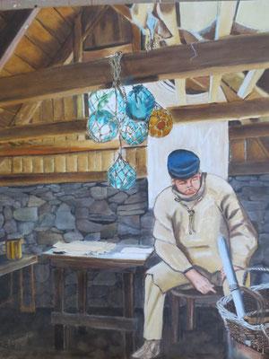 """Nordland: """"Fischer in Island"""" - Öl auf Malpappe, 50 x 40, 2018"""