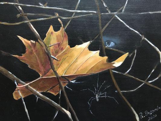 """""""Blatt in Zweigen"""", Öl auf Malplatte, 24 x 30, 2020"""