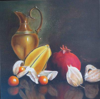 """""""Messingkrug mit Früchten"""" - Öl auf Leinwand, 40 x 40, 2010"""