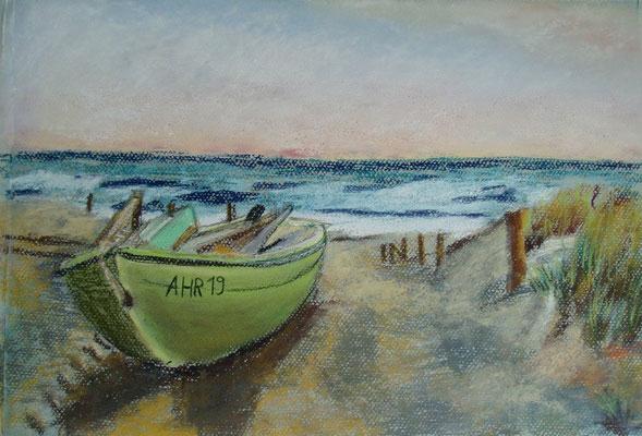 """""""Ahrenshoop - Fischerboot Nr. 19"""" - Pastell, 30 x 40, 2007"""