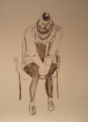 """""""Alina - sitzend"""" - Bleistiftzeichnung, 40 x 30, 2011"""