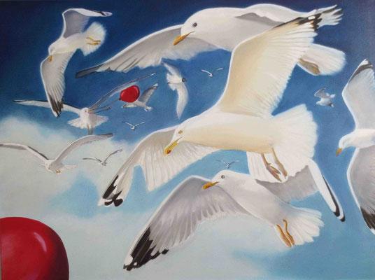 """""""Möwen mit Luftballon"""" - Öl auf Leinwand, 60 x 80, 2014"""