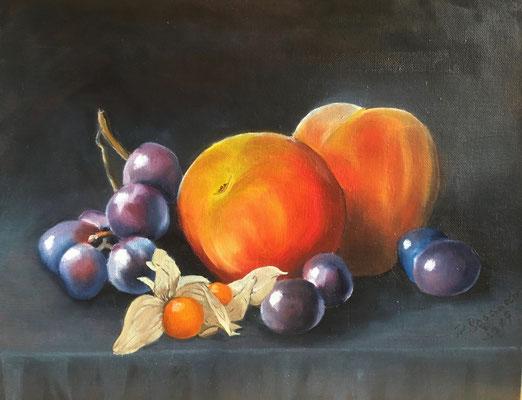 """""""Früchte"""" - Öl auf Malpappe, 24 x 30, 2019"""