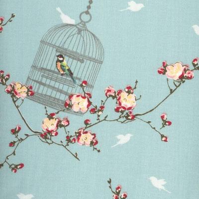 helblau mit kirschen und vögel
