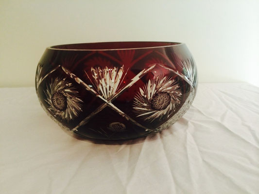 Stunning Deep Red Coloured Cut to Clear Bowl | Adds a Touch of Style to Your Dining Table | Ideal for Putting Candles In | H:130 x D:235mm | Price: $139.00