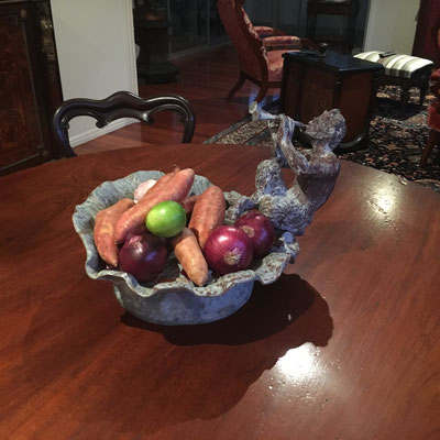 """Pan "" solid lead fruit bowl ( can be used outside ) Circa 1880 $ 1245.00"