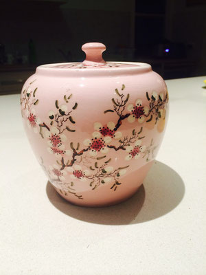 Ginger Jar with cherry blossom. Artist Guy Boyd ( signed to bottom )  $ 420.00