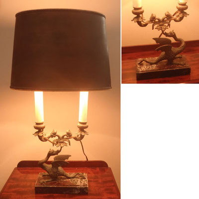 Fine pair of French Glided Art Nouveau Dragon Lamps | Circa 1920 | H:580 x W:310 x D:160mm | Price: $2,450.00