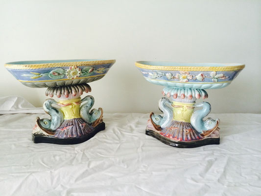 Majolica Centrepieces | Floret Pattern to Dish Resting on Pedestal with Two Supporting Dolphins | H:195 x W:255 x D:145mm | Price: $245.00 pair