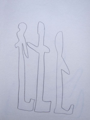 "Artist: Roger Hose | ""Three Men Looking at a Memorial"" 