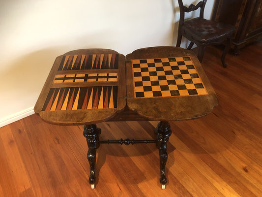 Burr Walnut Games Table with Satin Wood Inlay Resting on Ebonised Base | Circa 1860 | Price: $1450.00