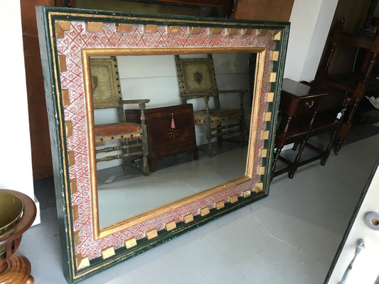 Spanish 16th Century Style Polychrome Mirror with Dental Mould | Signed and Dated Roger Hose 1993 | Price: $975.00
