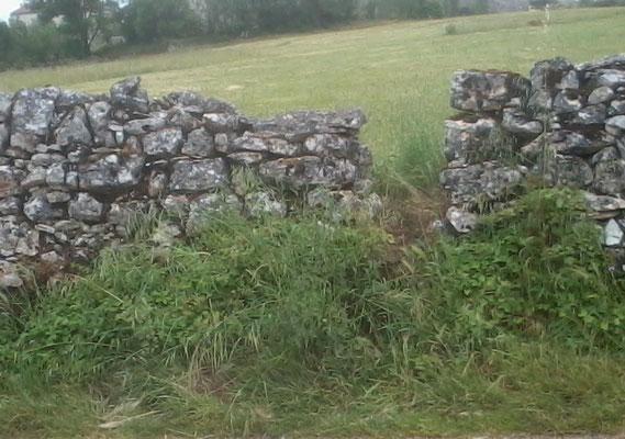 Mur N° 32  Mur pierres sèches avec compte-moutons - Flottes - Long : 1°22'15.9'' E- Latit :44°26'28.4'' N