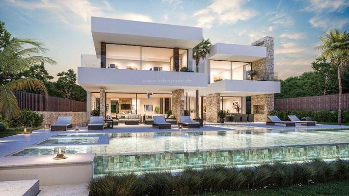 Neubauprojekt Design Villa Marbella Costa del Sol Andalusien Garten und Pool