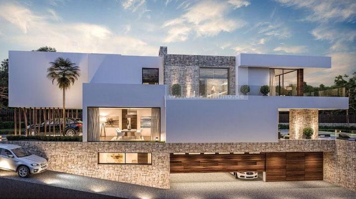 Neubauprojekt Design Villa Marbella Andausien Seitenansicht