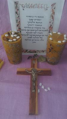 "Gebetskerze ""Vater Unser. So hat Gott geschrieben."" in aramäischer Schrift"