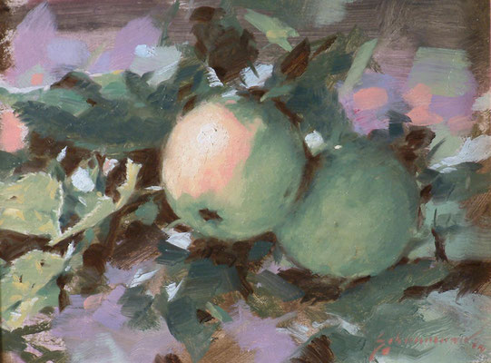 "Green apples - 12x18"" oil painting by Peter Schaumann"