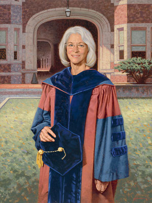Dean Joan Hendricks, University of Pennsylvania Vetenarian Hospital, Philadelphia Pennsylvania - oil on linen 40x30""