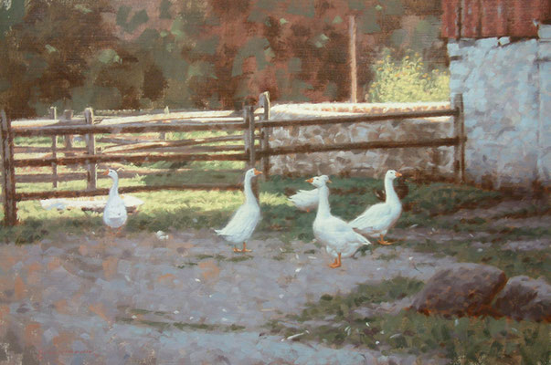 "Farm Yard - 12x18"" oil painting by Peter Schaumann SOLD"