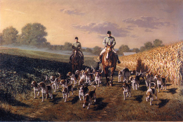 'Cubbin - Horse and Hound Portrait in Oil by Peter Schaumann