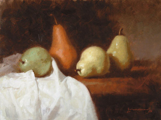 4 Pears - oil painting by Peter Schaumann