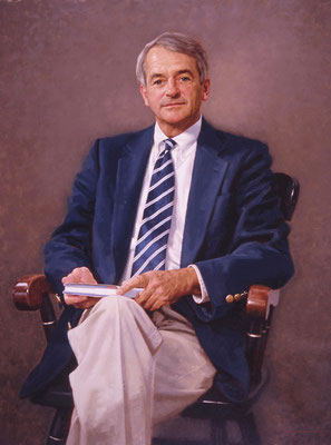 "Dr. Richard A. Hawley, President, University School, Huntington Valley, Ohio - oil on linen 40""x30"""