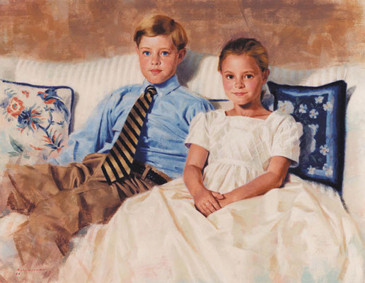 Brother and Sister (portrait in oil by Peter Schaumann)