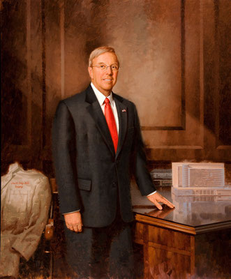 John M. Daly M.D., Dean of Temple University School of Medicine, Philadelphia, Pennsylvania - oil on linen 60x50""