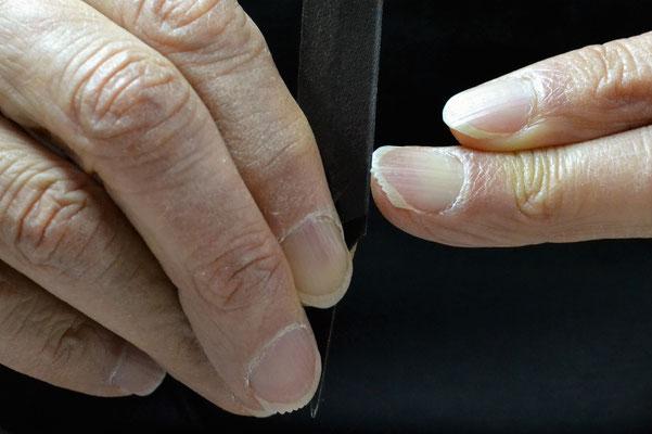 ノコギリ状に研いだ爪先