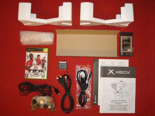 Contenido de la caja de la Microsoft Xbox (Crystal Edition)