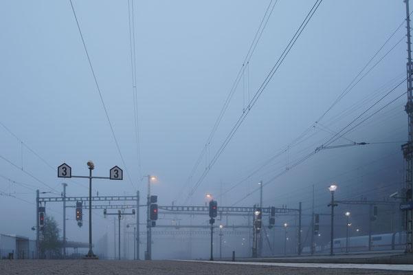 Bahnhof Olten im Morgennebel