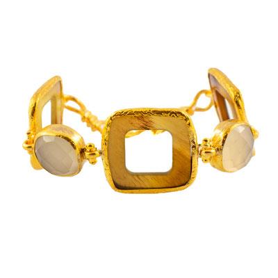 Armband Horn/Messing vergoldet, Achat