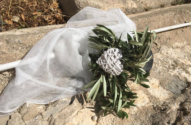 olive branches and heart deco for steps