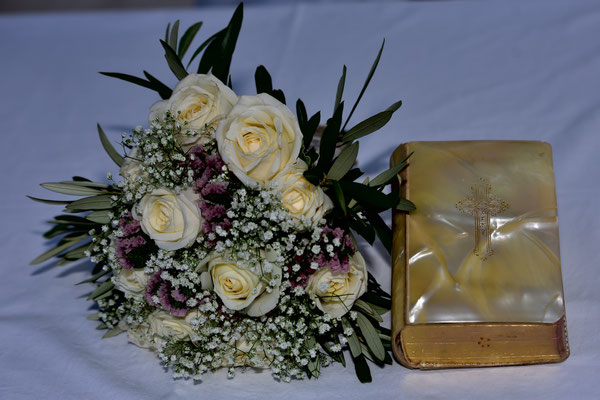 bridal bouquet and bible