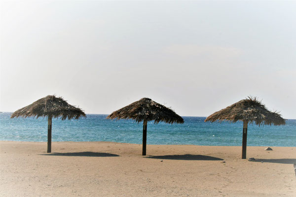 umbrellas at the sandy beach in Paleochora Crete