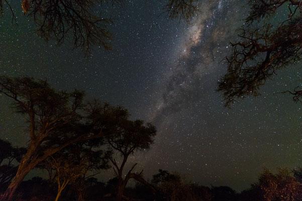 Der Nachthimmel über dem Camp im Busch. Die Milchstrasse zum Greifen nah. D3s 15mm/NEF, auf die Schnelle in LR bearbeitet