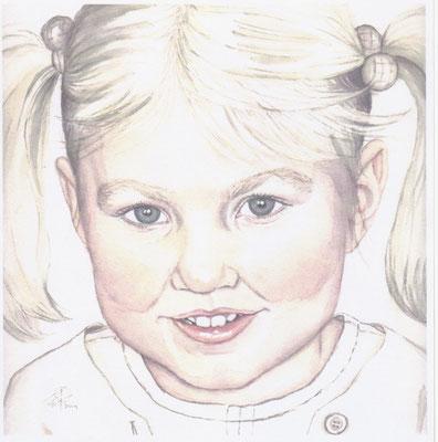 Portretschilderij-kind-Aquarel-portret-kind-portretschilderij-meisje-Portretschilder-Wil-van-der-Plas-Phebe-Art-Aquarel-op-papier-kinderportret-meisje